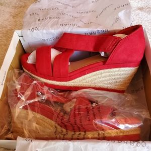 Bamboo Red Wedge Shoes